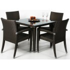 Modern Rattan 5-Piece Outdoor Dining Set - Ready to Ship