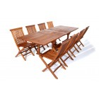 Double Butterfly 9-Piece Teak Dining Set - Ready to Ship