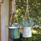 Botanical Hanging Metal Planters - Set of 2