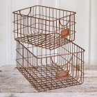 Copper Finish Wire Baskets - Set of 2