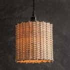 Drum Rattan Plug-In Pendant Lamp