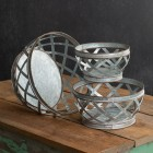 Galvanized Metal Baskets - Set of 3