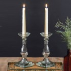 Glass Taper Candle Holders - Pair