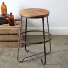 Industrial Wooden Top Stool - Ready to Ship