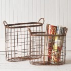 Oval Copper Finish Wire Baskets - Set of 2