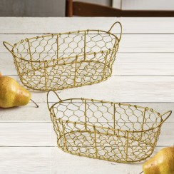 Oval Gold Finish Baskets - Pair