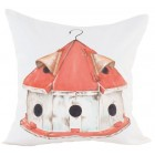Birdhouse Hand-Painted Throw Pillow (Filler Included)