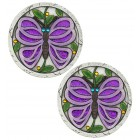 Purple Butterfly Stepping Stones - Pair