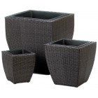 Modern Rattan Outdoor Planters - Set of 3