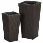 Modern Rattan Tall Outdoor Planters - Set of 2