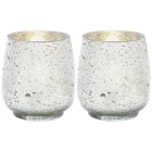 Mercury Glass Candle Holders - Pair