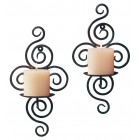 Scrollwork Candle Wall Sconces - Pair