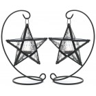 Starlight Tea Light Lanterns with Stands - Pair