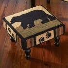 Adirondack Bear Hooked Footstool - Ready to Ship