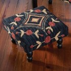 Aldrich Hooked Footstool - Ready to Ship