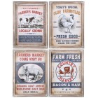 Farmers Market Wall Signs - Set of 4