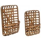 Wooden Tobacco Basket Wall Pockets - Set of 2